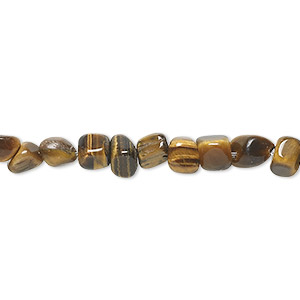 bead, tigereye (natural), small pebble, mohs hardness 7. sold per 16-inch strand.