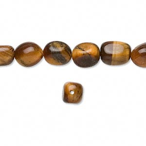 bead, tigereye (natural), small to medium tumbled pebble, mohs hardness 7. sold per 16-inch strand.