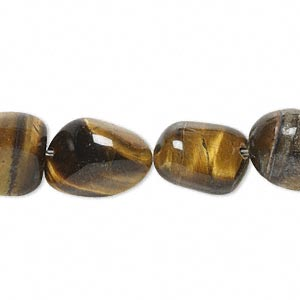 bead, tigereye (natural), small tumbled nugget, mohs hardness 7. sold per 16-inch strand.