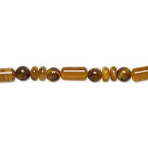 bead, tigereye (natural), southwest style with 4mm round / 4x2mm rondelle / 8x4mm capsule, b grade, mohs hardness 7. sold per 4-inch strand, approximately 20 beads.