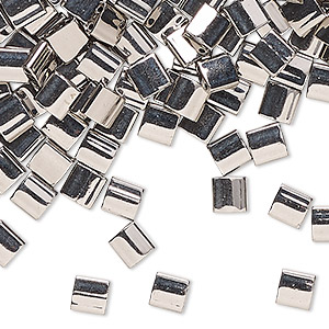 bead, tila, glass, metallic nickel finish, (tl190), 5mm square with (2) 0.8mm holes. sold per 10-gram pkg.