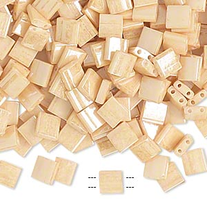 bead, tila, glass, opaque ceylon light caramel, (tl593), 5mm square with (2) 0.8mm holes. sold per 40-gram pkg.