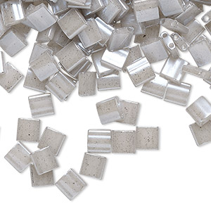 bead, tila, glass, opaque ceylon light grey, (tl526), 5mm square with (2) 0.8mm holes. sold per 10-gram pkg.