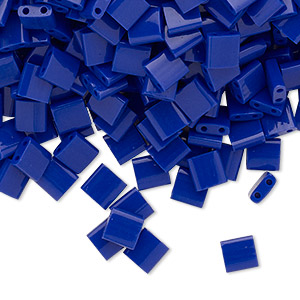 bead, tila, glass, opaque cobalt, (tl414), 5mm square with (2) 0.8mm holes. sold per 10-gram pkg.