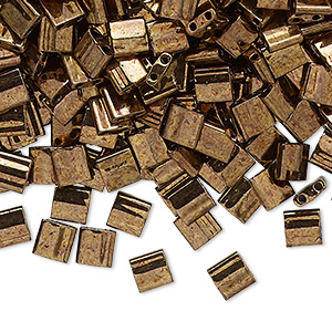 bead, tila, glass, opaque luster antique bronze, (tl457b), 5mm square with (2) 0.8mm holes. sold per 10-gram pkg.