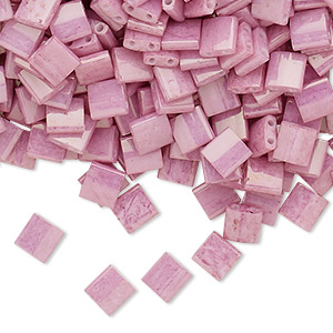 bead, tila, glass, opaque luster rose, (tl599), 5mm square with (2) 0.8mm holes. sold per 10-gram pkg.