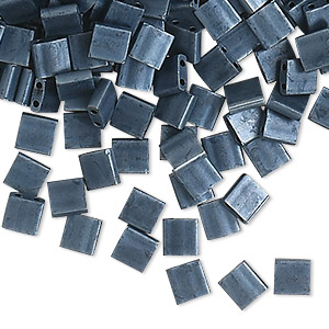 bead, tila, glass, opaque matte gunmetal blue, (tl2001), 5mm square with (2) 0.8mm holes. sold per 250-gram pkg.