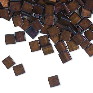 bead, tila, glass, opaque matte metallic dark raspberry, (tl2005), 5mm square with (2) 0.8mm holes. sold per 10-gram pkg.