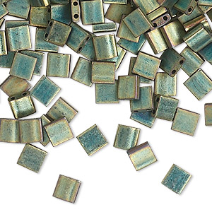bead, tila, glass, opaque matte metallic patina iris green, (tl2008), 5mm square with (2) 0.8mm holes. sold per 10-gram pkg.