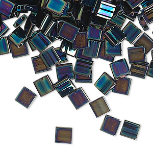 bead, tila, glass, opaque metallic iris blue, (tl455), 5mm square with (2) 0.8mm holes. sold per 10-gram pkg.