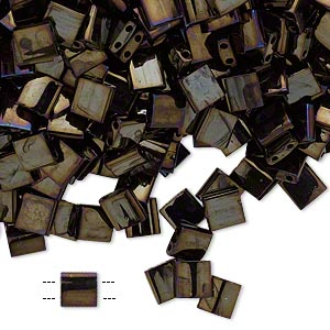 bead, tila, glass, opaque metallic rainbow dark olive, (tl458), 5mm square with (2) 0.8mm holes. sold per 250-gram pkg.