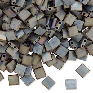bead, tila, glass, opaque metallic silver-grey, (tl2002), 5mm square with (2) 0.8mm holes. sold per 10-gram pkg.