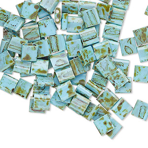 bead, tila, glass, opaque picasso antique turquoise blue, (tl4514), 5mm square with (2) 0.8mm holes. sold per 40-gram pkg.