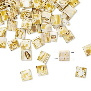 bead, tila, glass, opaque picasso antique white, (tl4512), 5mm square with (2) 0.8mm holes. sold per 10-gram pkg.