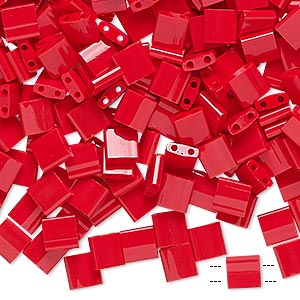 bead, tila, glass, opaque red, (tl408), 5mm square with (2) 0.8mm holes. sold per 10-gram pkg.