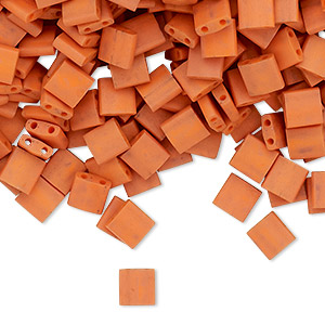 bead, tila, glass, opaque satin matte dark orange, (tl2315), 5mm square with (2) 0.8mm holes. sold per 250-gram pkg.