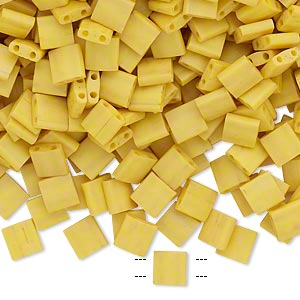 bead, tila, glass, opaque satin matte rich yellow, (tl2311), 5mm square with (2) 0.8mm holes. sold per 40-gram pkg.