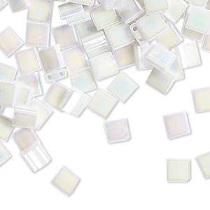 bead, tila, glass, opaque white pearl ab, (tl471), 5mm square with (2) 0.8mm holes. sold per 250-gram pkg.