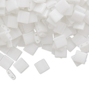bead, tila, glass, opaque white, (tl402), 5mm square with (2) 0.8mm holes. sold per 250-gram pkg.