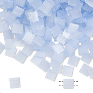 bead, tila, glass, translucent silk luster blue, (tl2562), 5mm square with (2) 0.8mm holes. sold per 10-gram pkg.