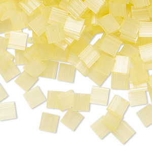 bead, tila, glass, translucent silk luster light yellow, (tl2554), 5mm square with (2) 0.8mm holes. sold per 10-gram pkg.