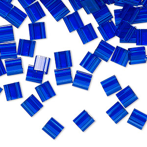 bead, tila, glass, transparent blueberry, (tl151), 5mm square with (2) 0.8mm holes. sold per 250-gram pkg.
