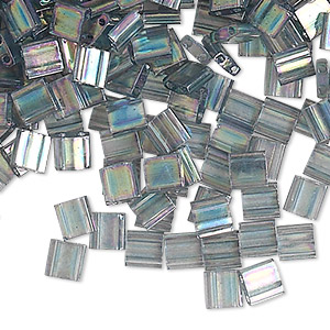 bead, tila, glass, transparent luster rainbow dark grey, (tl2440d), 5mm square with (2) 0.8mm holes. sold per 250-gram pkg.