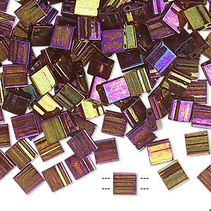 bead, tila, glass, transparent luster rainbow dark topaz gold, (tl301),  5mm square with (2) 0.8mm holes. sold per 40-gram pkg.