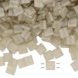 bead, tila, glass, transparent matte luster oyster, (tl3173), 5mm square with (2) 0.8mm holes. sold per 10-gram pkg.