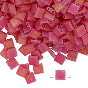 bead, tila, glass, transparent matte rainbow light fire red, (tl140fr), 5mm square with (2) 0.8mm holes. sold per 40-gram pkg.