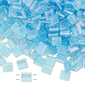 bead, tila, glass, transparent rainbow light blue, (tl260), 5mm square with (2) 0.8mm holes. sold per 10-gram pkg.