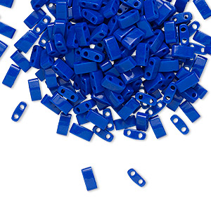 bead, tila, half tila, glass, opaque cobalt, (htl414), 5x2.3mm rectangle with (2) 0.8mm holes. sold per 10-gram pkg.