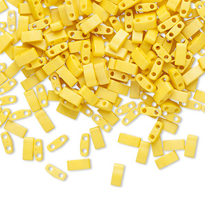 bead, tila, half tila, glass, opaque matte satin rich yellow, (htl2311), 5x2.3mm rectangle with (2) 0.8mm holes. sold per 250-gram pkg.