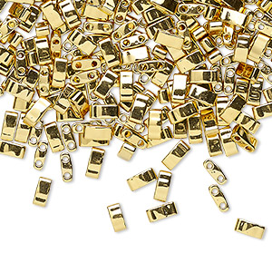 bead, tila, half tila, glass, opaque metallic 24kt gold finish, (htl191), 5x2.3mm rectangle with (2) 0.8mm holes. sold per 10-gram pkg.