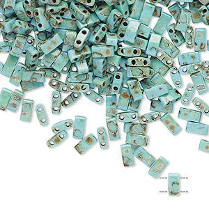 bead, tila, half tila, glass, opaque picasso antique turquoise blue, (htl4514), 5x2.3mm rectangle with (2) 0.8mm holes. sold per 10-gram pkg.