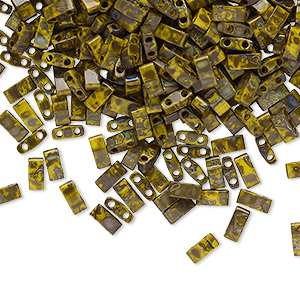 bead, tila, half tila, glass, opaque picasso mustard, (htl4519), 5x2.3mm rectangle with (2) 0.8mm holes. sold per 10-gram pkg.