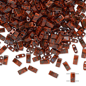 bead, tila, half tila, glass, opaque picasso red, (htl4520), 5x2.3mm rectangle with (2) 0.8mm holes. sold per 40-gram pkg.
