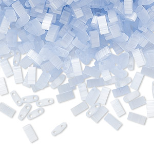 bead, tila, half tila, glass, translucent silk luster blue, (htl2562), 5x2.3mm rectangle with (2) 0.8mm holes. sold per 10-gram pkg.