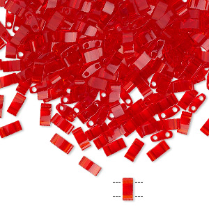 bead, tila, half tila, glass, transparent light fire red, (htl140), 5x2.3mm rectangle with (2) 0.8mm holes. sold per 10-gram pkg.