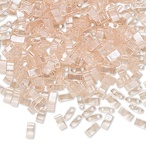 bead, tila, half tila, glass, transparent luster light shell pink, (htl365), 5x2.3mm rectangle with (2) 0.8mm holes. sold per 10-gram pkg.