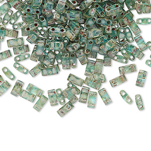 bead, tila, half tila, glass, transparent picasso turquoise blue, (htl4506), 5x2.3mm rectangle with (2) 0.8mm holes. sold per 250-gram pkg.
