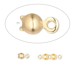 bead tip, gold-plated brass, 6.5x3.5mm bottom clamp-on with double loop. sold per pkg of 100.