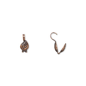 bead tip, hot tips, antique copper-plated brass, 9x5mm leaf. sold per pkg of 72.