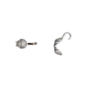 bead tip, hot tips, antique silver-plated brass, 9x5mm shell. sold per pkg of 100.