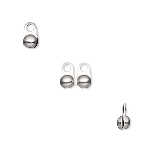 bead tip, stainless steel, 8x4mm side clamp-on, fits 3.2mm ball chain. sold per pkg of 100.
