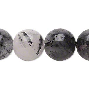 bead, tourmalinated quartz (natural), 15-16mm round, c grade, mohs hardness 7. sold per 16-inch strand.