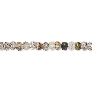 bead, tourmalinated quartz (natural), 4x2mm-4x4mm hand-cut faceted rondelle, b- grade, mohs hardness 7. sold per 13-inch strand.