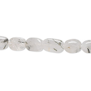 bead, tourmalinated quartz (natural), 9x8mm-12x10mm hand-cut oval, c grade, mohs hardness 7. sold per 16-inch strand.