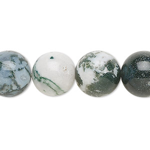 bead, tree agate (natural), 14mm round, b grade, mohs hardness 6-1/2 to 7. sold per 16-inch strand.