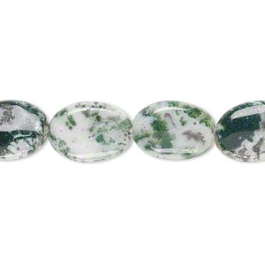 bead, tree agate (natural), 14x10mm flat oval, b grade, mohs hardness 6-1/2 to 7. sold per 16-inch strand.